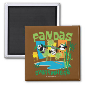 Pandas Everywhere Square Magnet