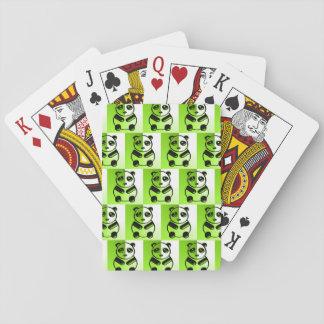 Pandas green pattern playing cards