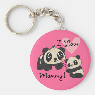 Pandas I Love Mommy Basic Round Button Key Ring