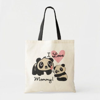 Pandas I Love Mommy Tote Bag
