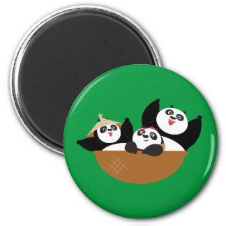 Pandas in a Bowl 6 Cm Round Magnet