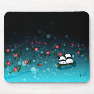 Pandas in snow mouse pad