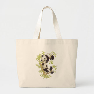 Pandas Playing in a Tree Large Tote Bag