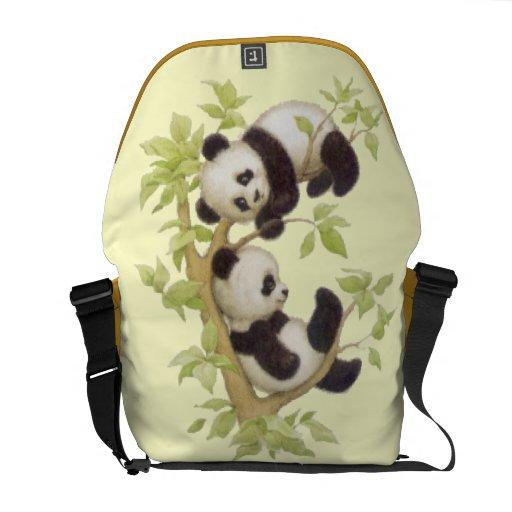 Panda's Playing in a Tree Messenger Bag