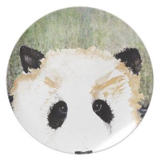 Pandas Watercolour Painting Party Plate