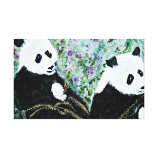 Pandas with Golden Bamboo Canvas Print