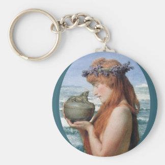 Pandora by Alma Tadema, Vintage Romanticism Basic Round Button Key Ring
