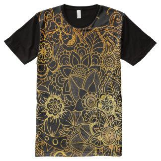 Panel T-Shirt Floral Doodle Gold G523