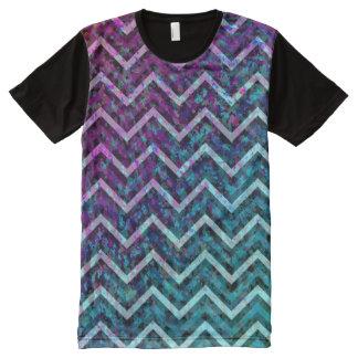 Panel T-Shirt Zig Zag Chevron Pattern All-Over Print T-Shirt