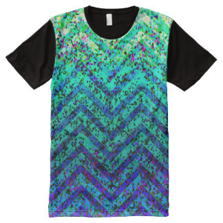 Panel T-Shirt Zig Zag Sparkley Texture All-Over Print T-Shirt