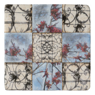 Paneled Abstract Scrollwork Painting Trivet