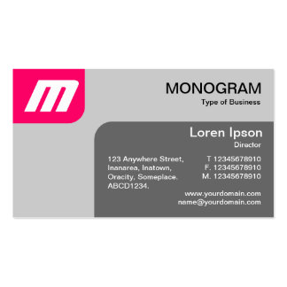 Panels MonoGram - Neon Red and Grey Pack Of Standard Business Cards