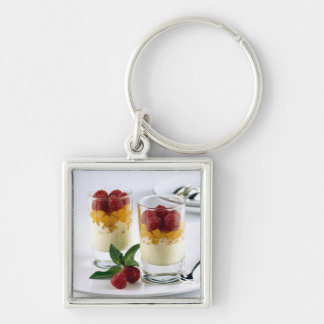 Panful of mango on a vanilla ice-cream For Silver-Colored Square Key Ring
