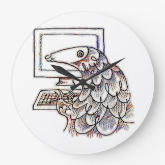 Pangolin on a computer large clock