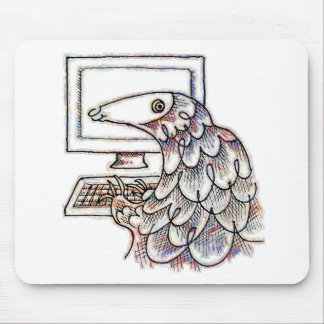 Pangolin on a computer mouse pad