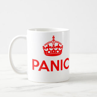PANIC: Keep Calm and Carry On Spoof (Red) Coffee Mug