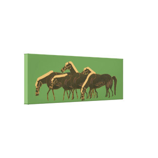 Panoply - Ancient Greek vase art herd of horses Canvas Print