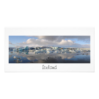 Panorama card with iceberg lake and text: Iceland Personalised Photo Card