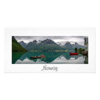 Panorama card with lake and text: Norway Personalised Photo Card