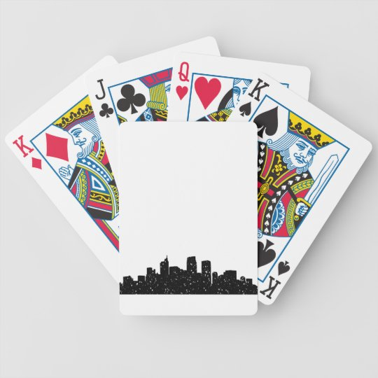 Panorama city in snow bicycle playing cards