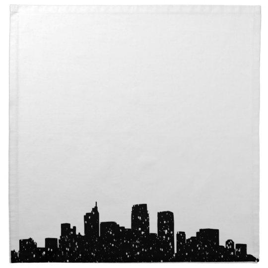 Panorama city in snow napkin
