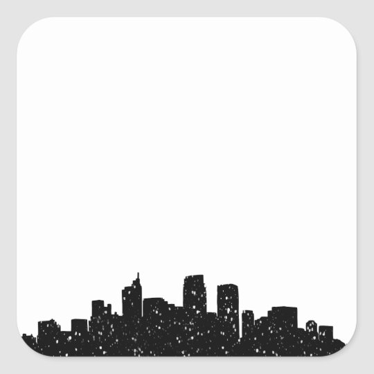 Panorama city in snow square sticker