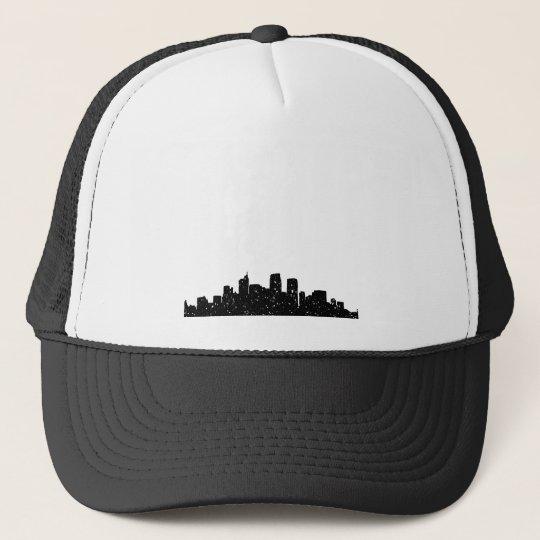 Panorama city in snow trucker hat