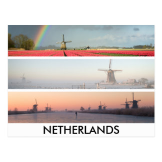 Panorama collage postcard with windmills, Holland