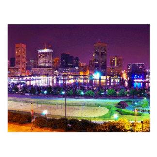 Panorama of Baltimore's Inner Harbor Night Skyline Postcard