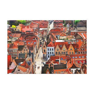 Panorama of Bruges from the Belfort tower. Canvas Print