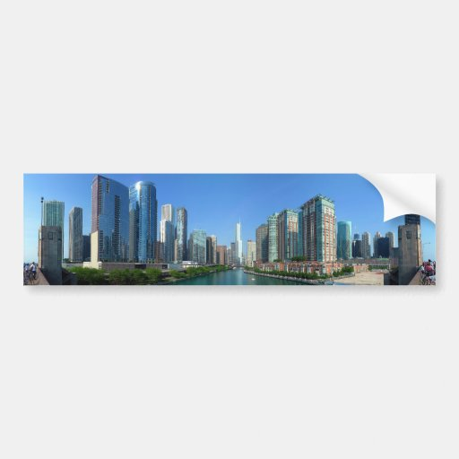 Panorama of Buildings Along Chicago River Bumper Sticker