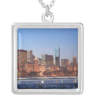 Panorama of Chicago, Illinois across Lake Silver Plated Necklace