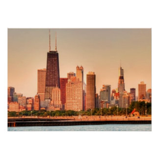 Panorama of Chicago skyline at sunrise Poster