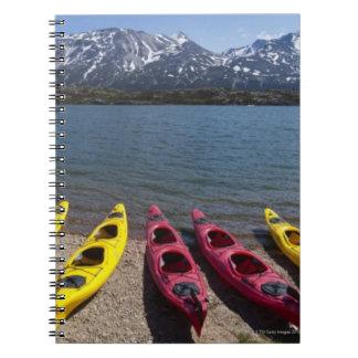 Panorama of kayaks on Bernard Lake in Alaska 2 Spiral Notebook