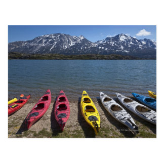 Panorama of kayaks on Bernard Lake in Alaska Postcard