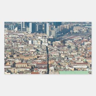 Panorama of Naples Rectangular Sticker