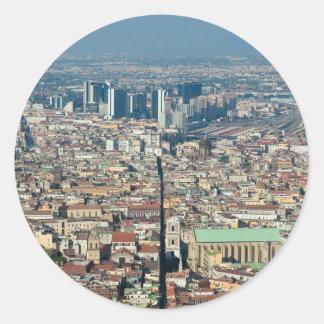 Panorama of Naples Round Sticker