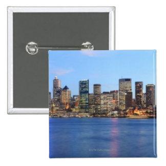 Panorama of Sydney Harbour Bridge at dusk with 15 Cm Square Badge