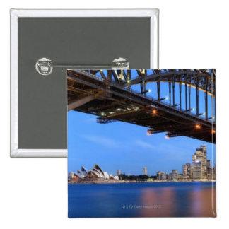 Panorama of Sydney Harbour Bridge, Sydney Opera 15 Cm Square Badge