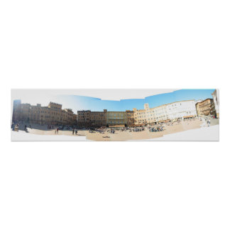 panorama of the campo in Sienna Poster