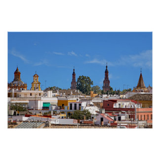 Panorama of the city of Seville Poster