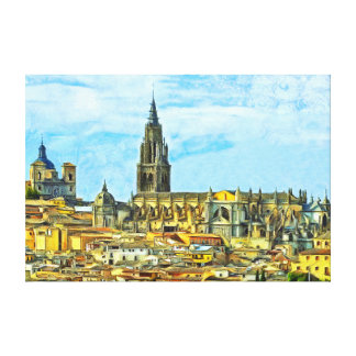 Panorama of the historical part of Toledo. Canvas Print
