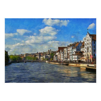 Panorama of the Limmat River Poster
