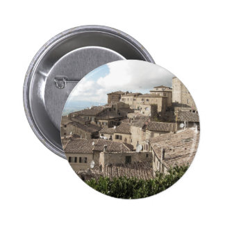 Panorama of Volterra village, province of Pisa 6 Cm Round Badge