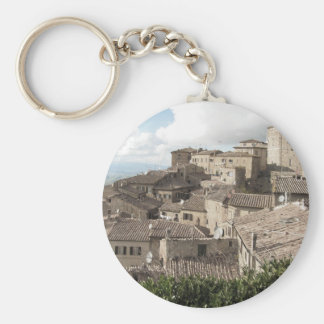 Panorama of Volterra village, province of Pisa Basic Round Button Key Ring