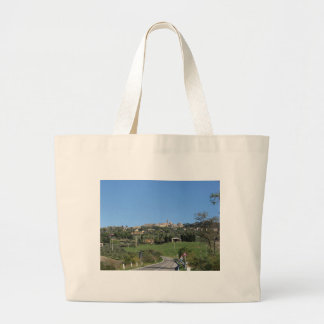 Panorama of Volterra village, province of Pisa Large Tote Bag