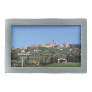 Panorama of Volterra village, province of Pisa Rectangular Belt Buckle