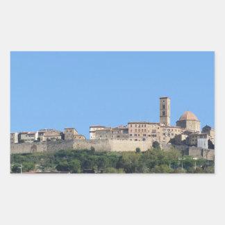 Panorama of Volterra village, province of Pisa Rectangular Sticker