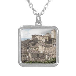Panorama of Volterra village, province of Pisa Silver Plated Necklace