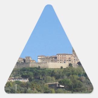 Panorama of Volterra village, province of Pisa Triangle Sticker